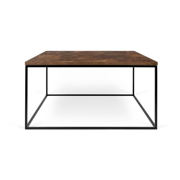 Hnědý konferenční stolek s černými nohami TemaHome Gleam, 75 x 75 cm