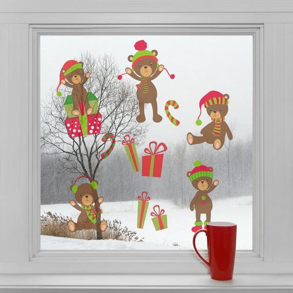 Elektrostatické vánoční samolepky Vánoční medvídci