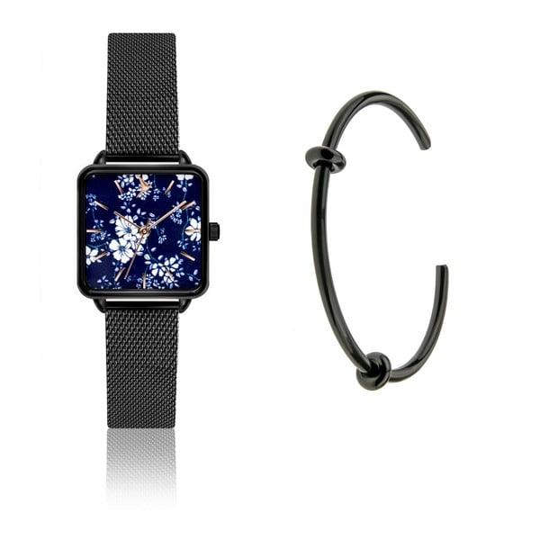 Zestaw damskiego zegarka z nierdzewnym paskiem w czarnym kolorze i czarnej bransoletki Emily Westwood Garro