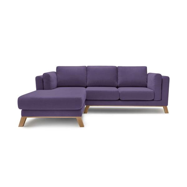 Švestkově fialová třímístná pohovka s lenoškou Bobochic Paris Seattle, levý roh