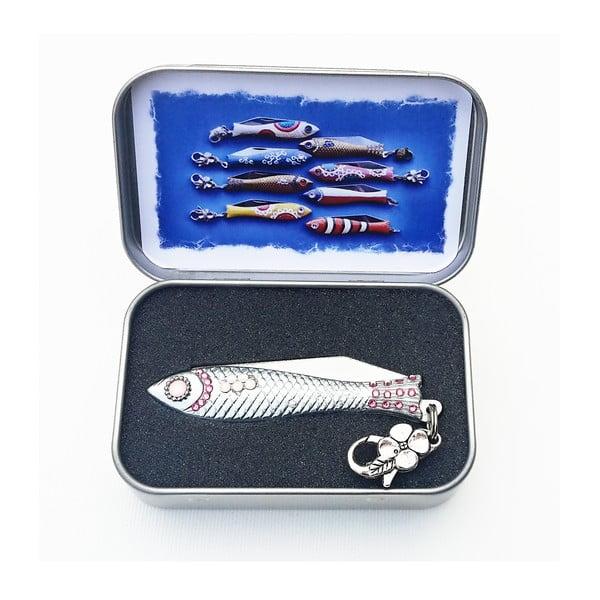 Vánoční český nožík rybička s růžovými krystaly, v plechové krabičce
