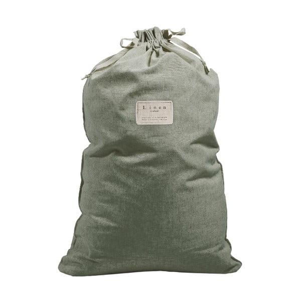 Látkový vak na bielizeň s prímesou ľanu Linen Bag Green Moss, výška 75 cm