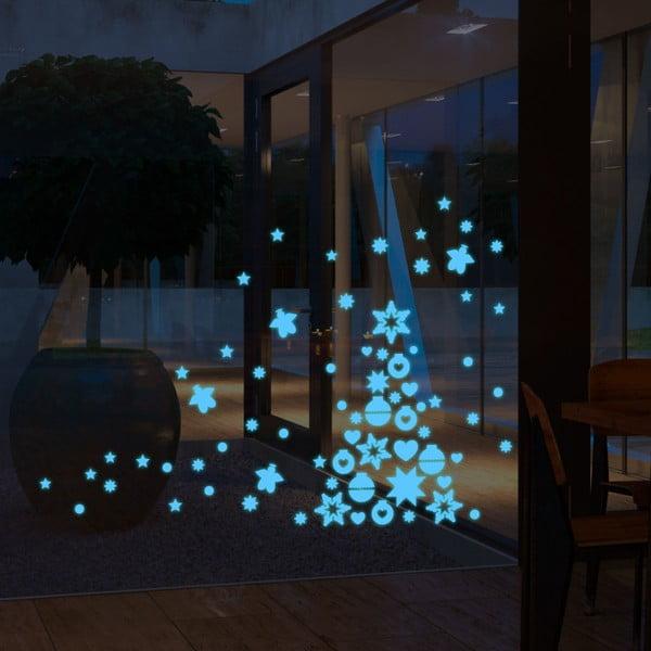 Ve tmě svítící samolepka Blue Christmas