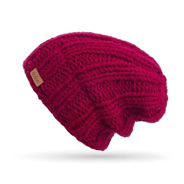 Vínovočervená ručne pletená čiapka DOKE Mina