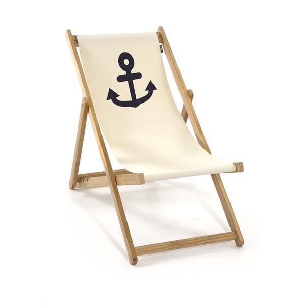 Skládací lehátko bez područek Beach, bílé