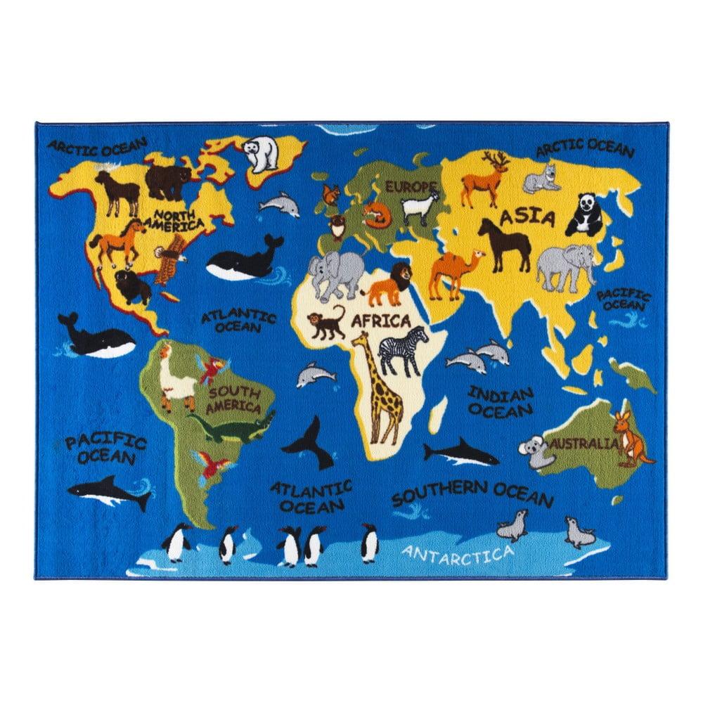 Dětský koberec s motivem mapy světa, 200 x 290 cm