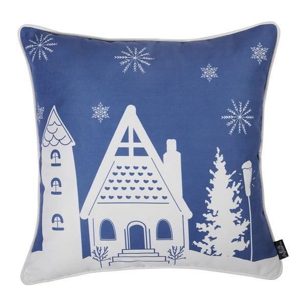 Modrá obliečka na vankúš s vianočným motívom Apolena Honey Cottage, 45×45 cm