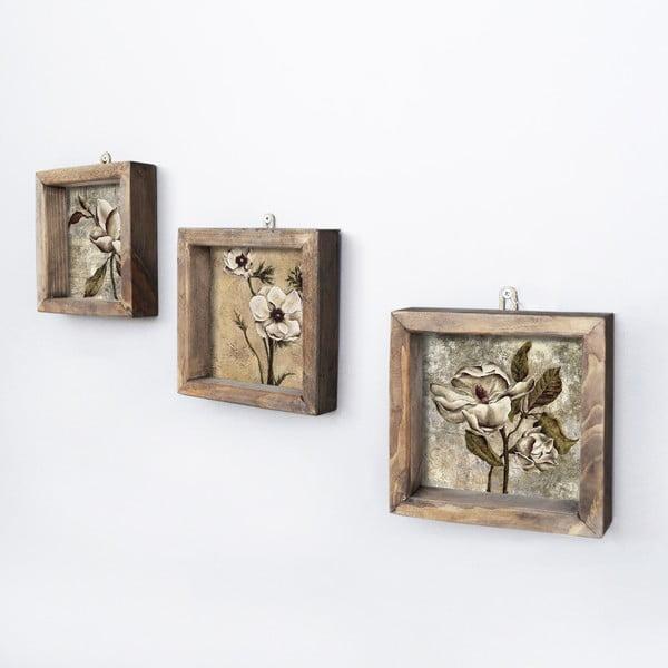 Sada 3 nástěnných obrazů Vintage, 15 x 15 cm