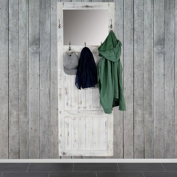 Bílý dřevěný stojan s háčky a zrcadlem Mendler Shabby