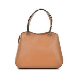 Koňakově hnědá kožená kabelka Mangotti Bags Adelina