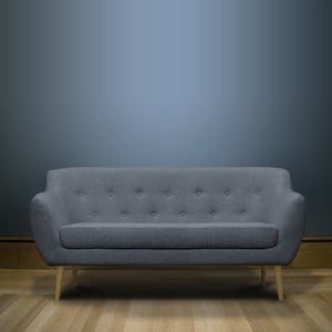 Světle modrá trojmístná pohovka se světlými nohami Mazzini Sofas Sicile