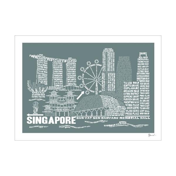 Plakát Singapore Grey&White, 50x70 cm