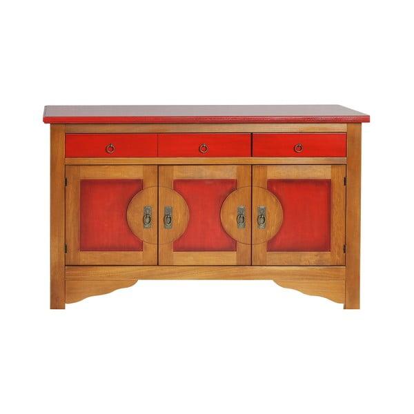 Comodă din lemn masiv de plop Evergreen House Orient, roșu - maro
