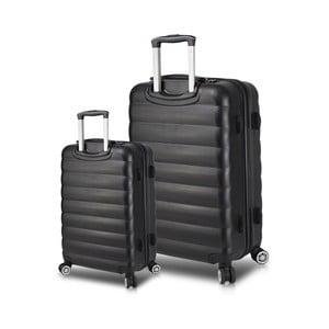 Sada 2 černých cestovních kufrů na kolečkách s USB porty My Valice RESSNO Cabin & Large