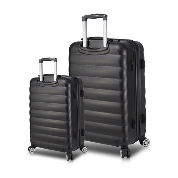 RESSNO Cabin & Large 2 fekete görgős bőrönd USB csatlakozóval - My Valice