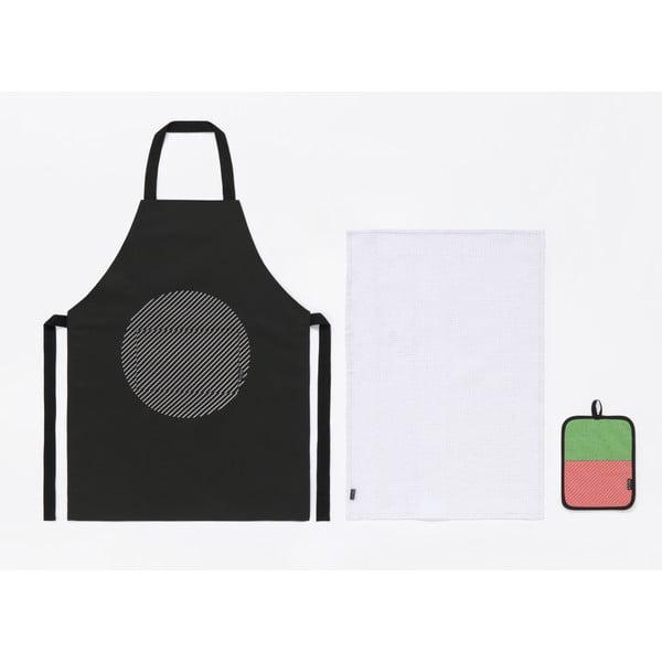 Set șorț, prosop și mănuși pentru bucătar DOIY Salmon, negru