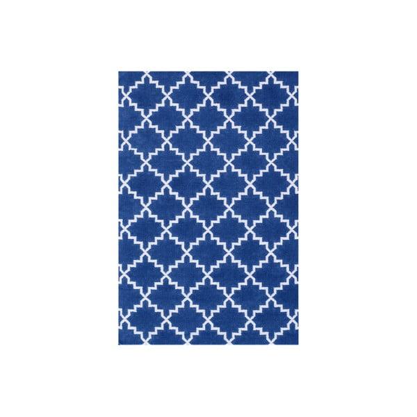 Tmavě modrý vlněný koberec Bakero Eugenie, 180x120cm