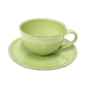 Zelený kameninový šálek na čaj s podšálkem Costa Nova Friso, 260ml