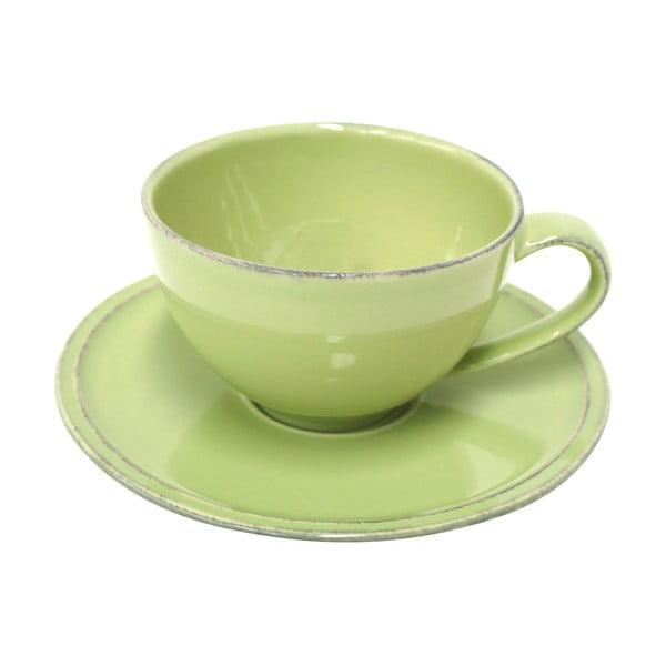 Zelený kameninový šálek na čaj s podšálkem Costa Nova Friso, objem 260ml