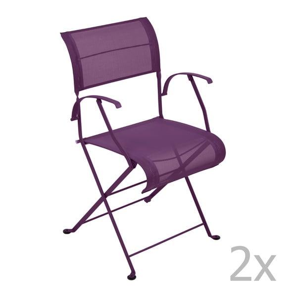 Sada 2 fialových skládacích židlí s područkami Fermob Dune