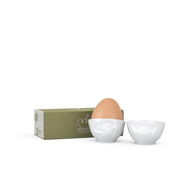 Set 2 cupe din porțelan pentru ouă, 58products Happy & Hmpff, alb