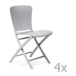 Sada 4 světle šedých zahradních židlí Nardi Zac Classic