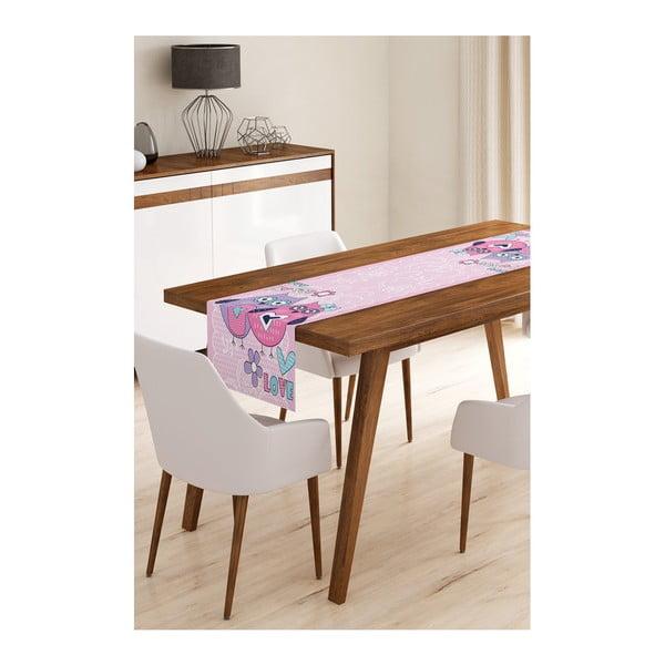 Běhoun na stůl z mikrovlákna Minimalist Cushion Covers Pinky Owls, 45x145cm