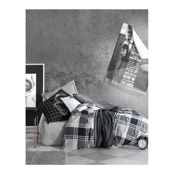 Černo-bílé bavlněné povlečení s prostěradlem na jednolůžko Square, 140x200cm