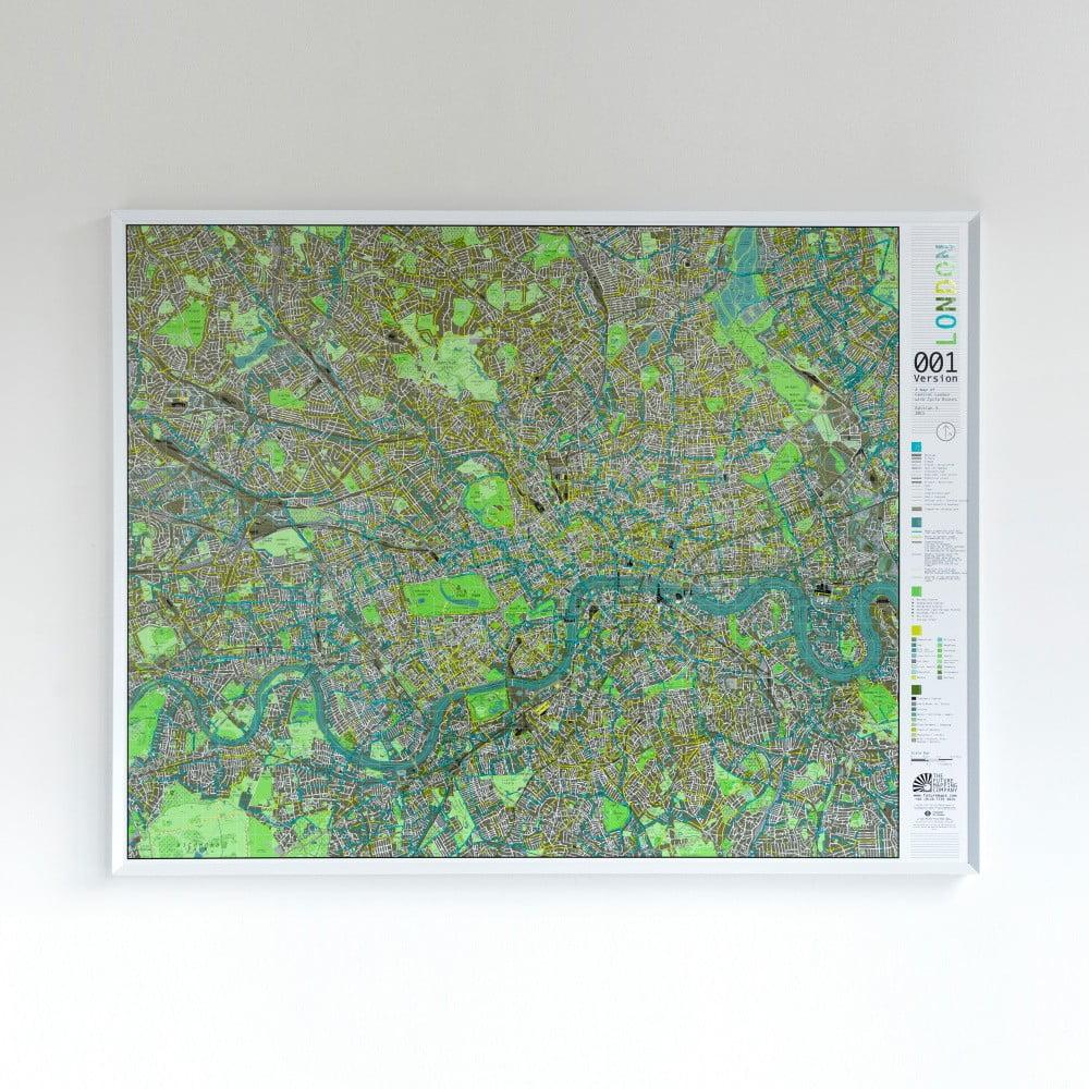 Zelená magnetická mapa Londýna Street Map, 130x100cm