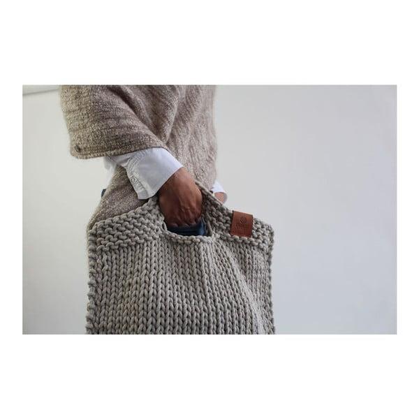 Pletená kabelka Catness, světle béžová, 35x38 cm