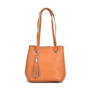 Koňakově hnědá kožená kabelka Mangotti Bags Aurora