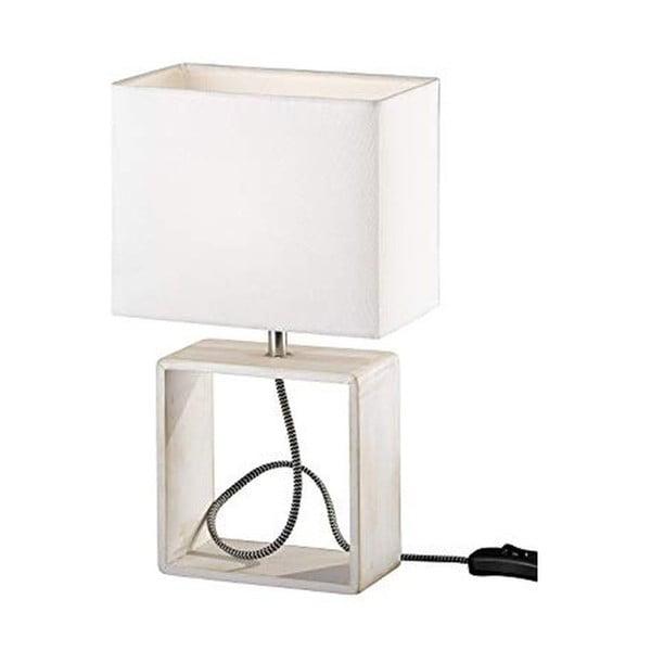 Bílá stolní lampa z přírodního dřeva a tkaniny Trio Tick, výška 34 cm
