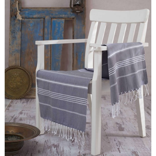 Szary ręcznik Hammam Sultan, 100x180 cm