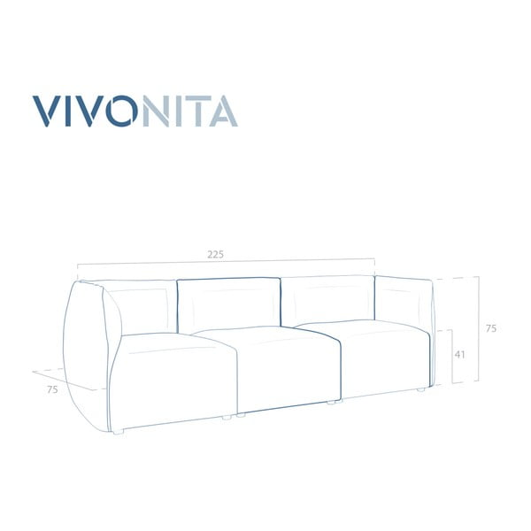 Šedá třímístná modulová pohovka Vivonita Cube