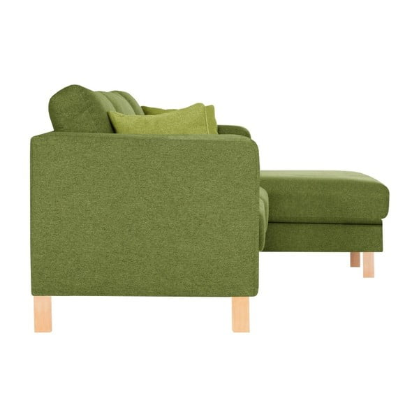 Canapea cu șezlong pe partea dreaptă și 2 perne verde deschis Stella Cadente Maison Canoa, verde