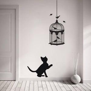 Samolepka na stěnu Kočka a ptáci, 90x60 cm