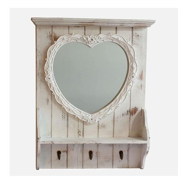 Zrcadlo s poličkou White Days, 50x61 cm