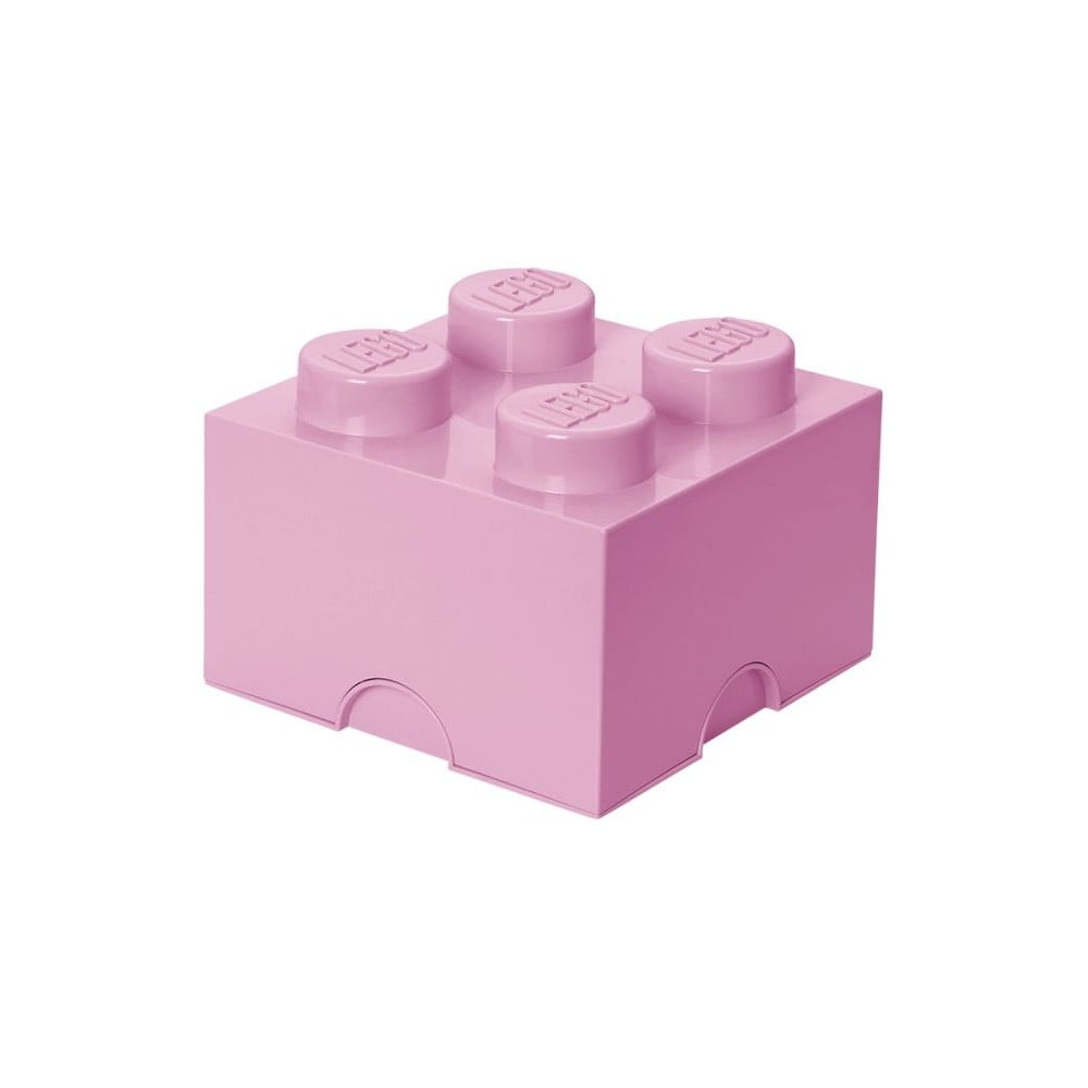 Světle růžový úložný box čtverec LEGO®