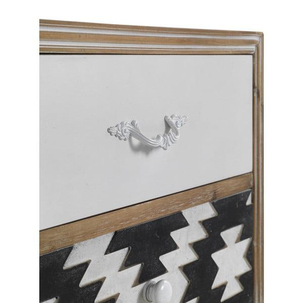 Măsuță auxiliară cu detalii alb-negru și 2 sertare Geese Rustico Geometric