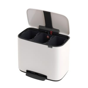 Bílý odpadkový pedálový koš se 3 vnitřními přihrádkami Brabantia Bo, 3x11l