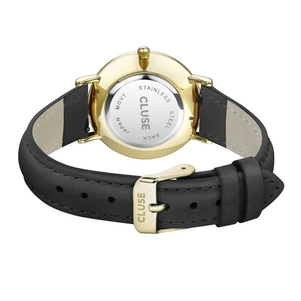 Dámské hodinky s černým koženým řemínkem a detaily ve zlaté barvě Cluse Minuit