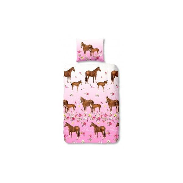 Dětské povlečení na jednolůžko z čisté bavlny Muller Textiels Horses, 140 x 200 cm
