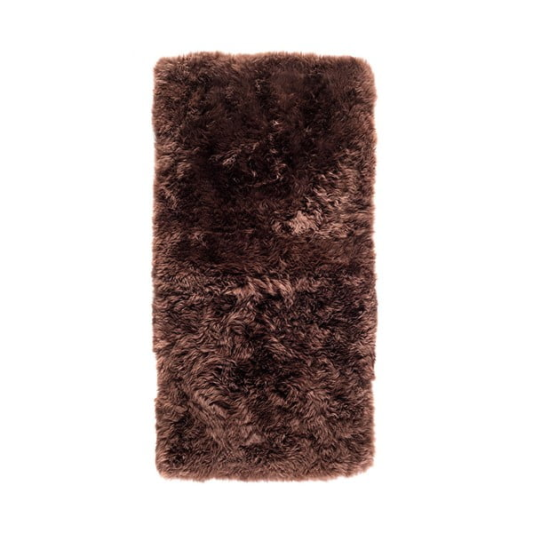 Hnědý koberec z ovčí kožešiny Royal Dream Zealand, 140x70cm