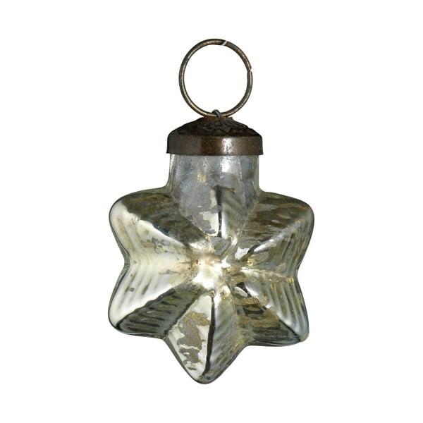 Set šesti skleněných ozdob Hvězda, antique, stříbrná
