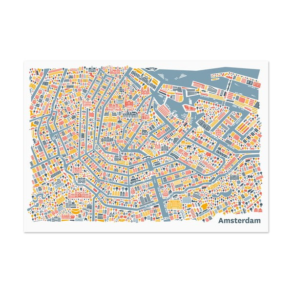 Nástěnná mapa Amsterdam, 100x70 cm