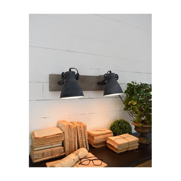 Tmavě šedé nástěnné svítidlo Orchidea Milano Old Factory Duo
