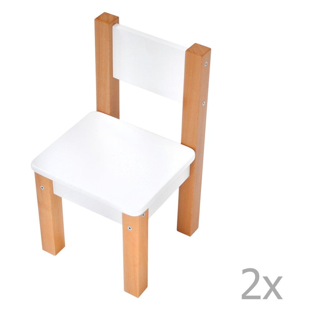 Sada 2 bílých dětských židliček Mobi furniture Mario