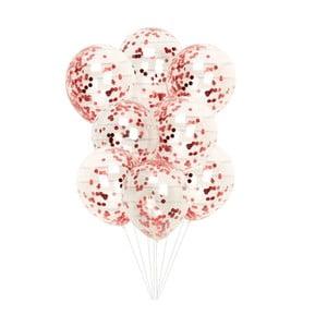 Sada 8 průhledných balonků s červenými konfetami Neviti Red & White Dots
