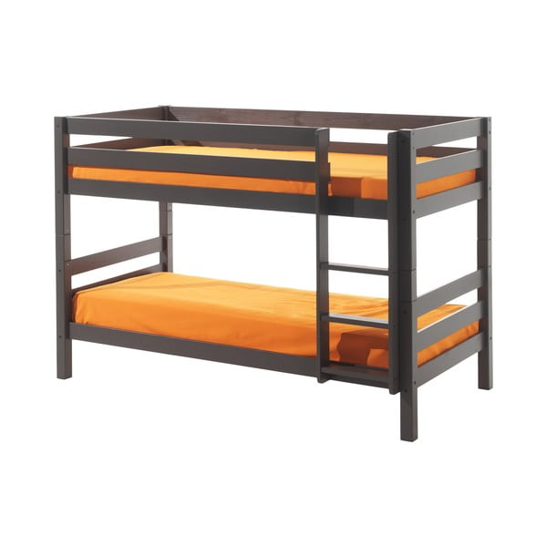 Szare dziecięce łóżko piętrowe Vipack Pino, wys. 140 cm