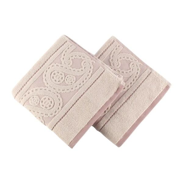 Sada 2 pudrově růžových ručníků Hurrem, 50x90cm